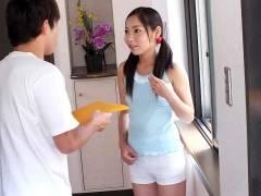 Home alone Lulu Kinouchi is stuffed big time