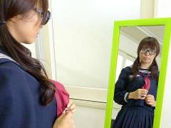 Azusa Misaki in uniform drilled at school