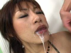 Hot Asian babe double cock sucking